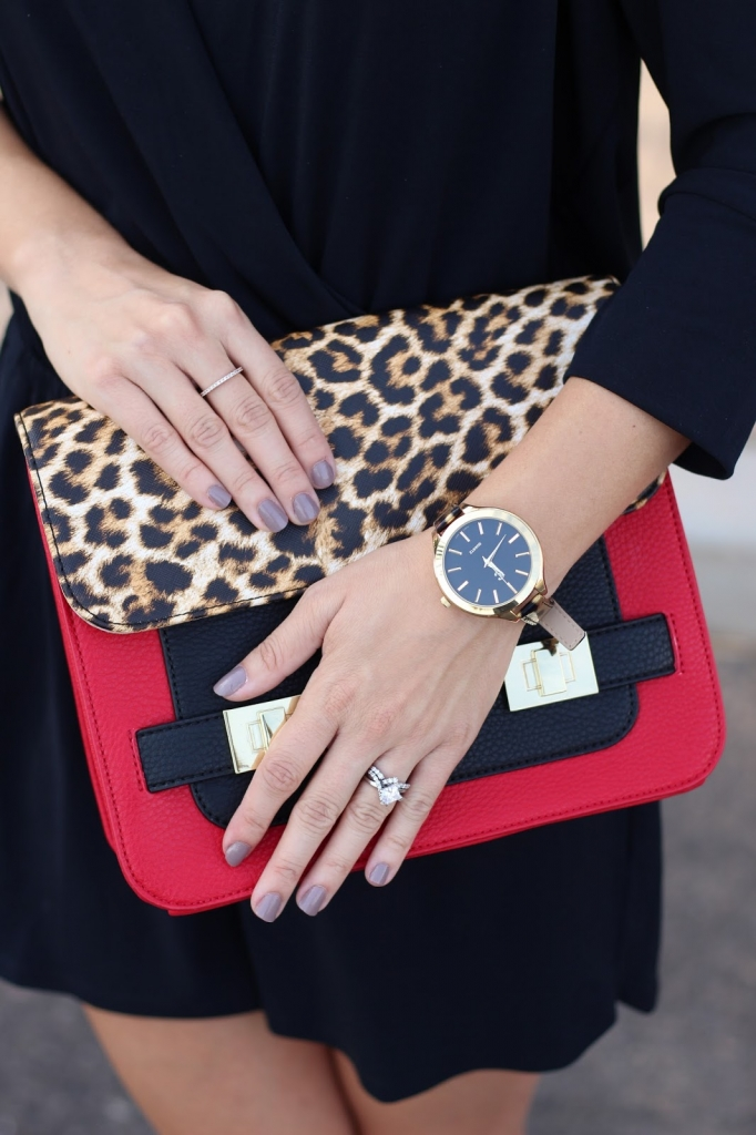 charming charlie purse - leopard watch - black romper