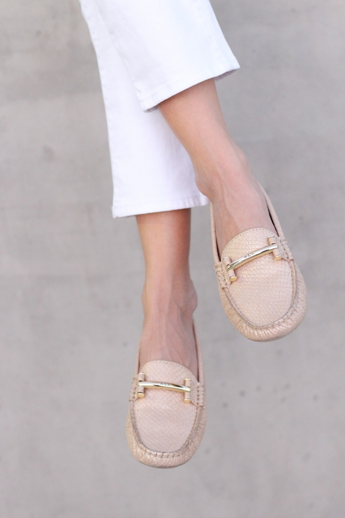 Loafer outfit - ralph lauren shoes - macy's - white crop jeans