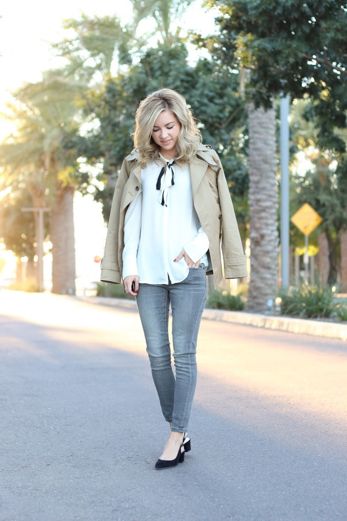 Khaki trench coat - peplum trench coat - how to wear a trench coat