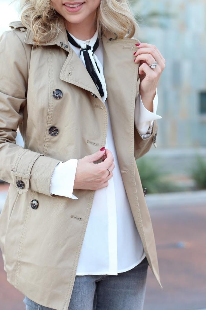 fall outfit - fall trench - bow blouse