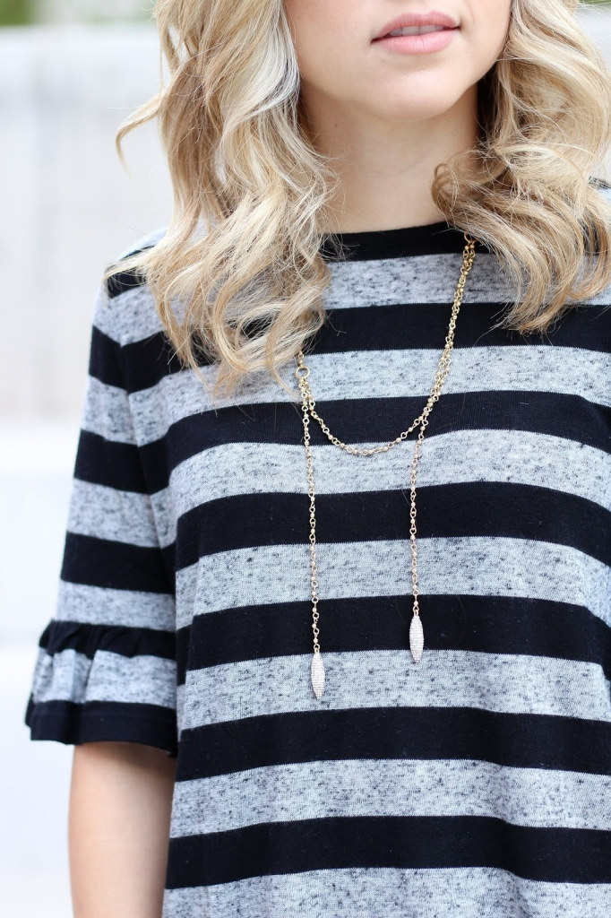 bauble bar necklace - stripe top - ruffle sleeve