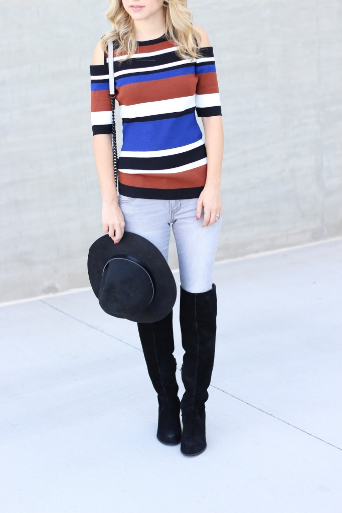 INC Stripe top - how to wear cold shoulder top - style