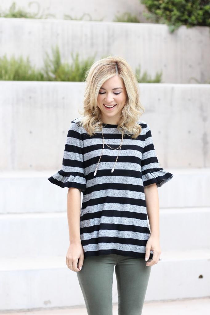 stripe top and leggings - loft - style - fall