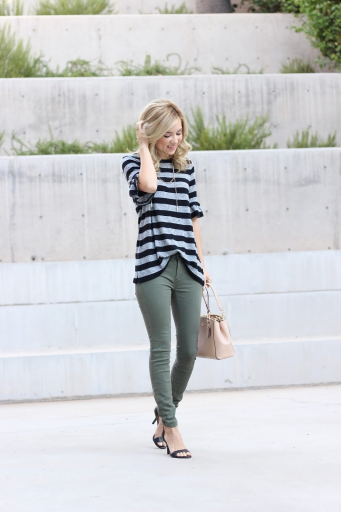 simply sutter - fall style - black and white stripe top - casual look