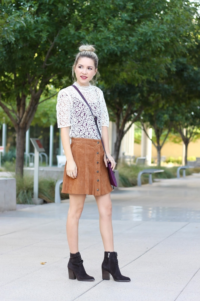 fall outfit, look book, lace top 2 ways