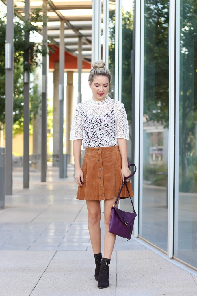 lace top, loft top, lace top and skirt outfit