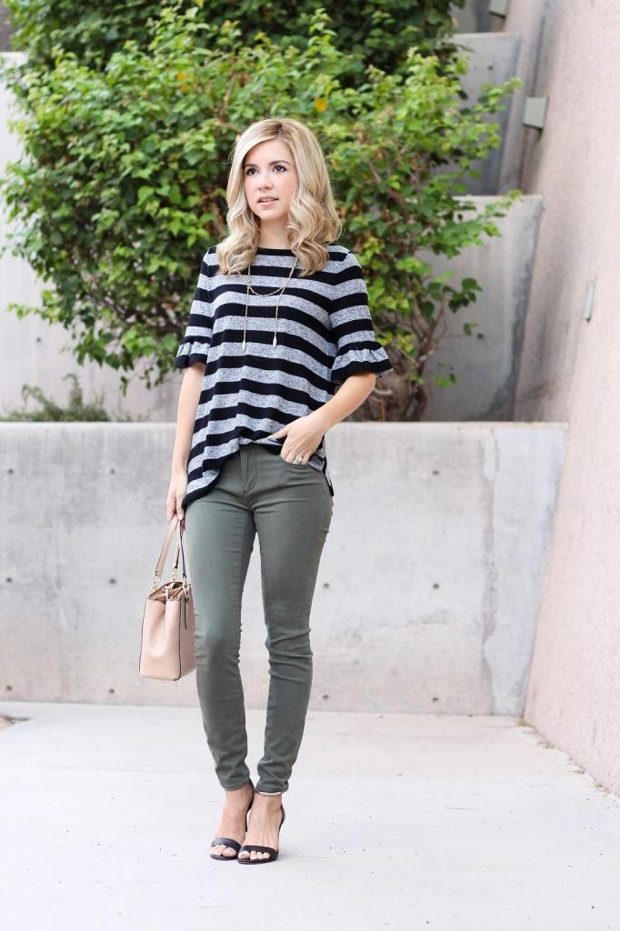 sateen leggings - olive green leggings - how to wear leggings