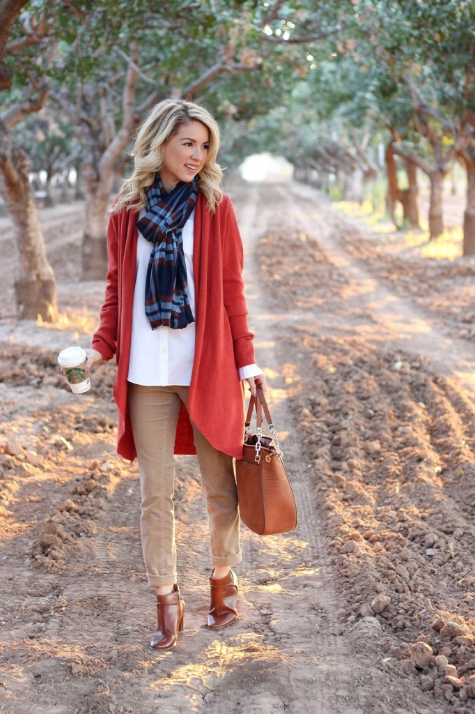 corduroy pants - ankle boots - cardigan - scarf - look - casual fall outfit