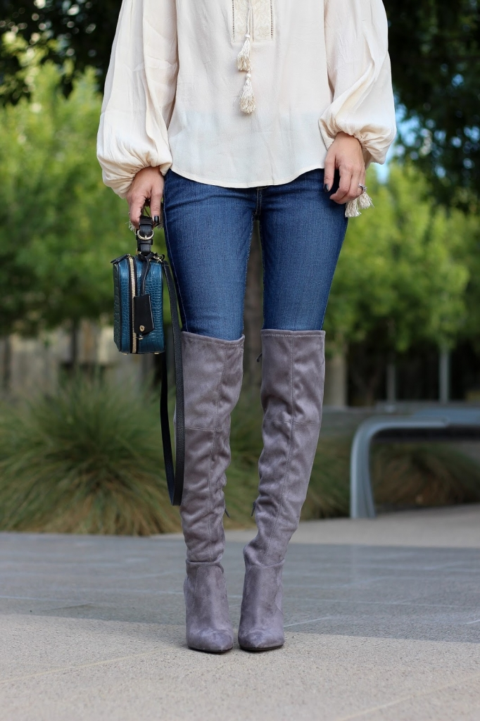 over the knee boots - grey boots - OTK boot style - guess boots