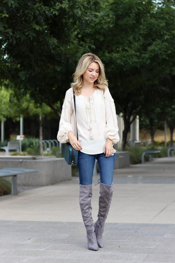 favorite tasseled top - OTK boots - fall look - blouse - Nordstrom - ASTR - casual look