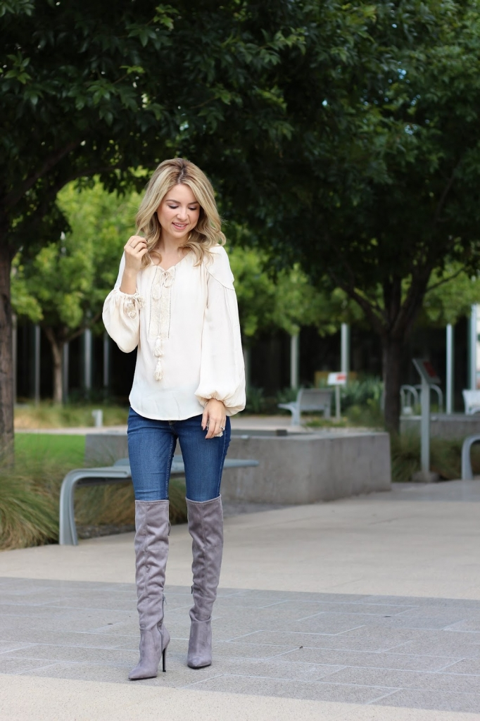 ASTR Blouse - casual fall outfit - denim style - grey over the knee boots