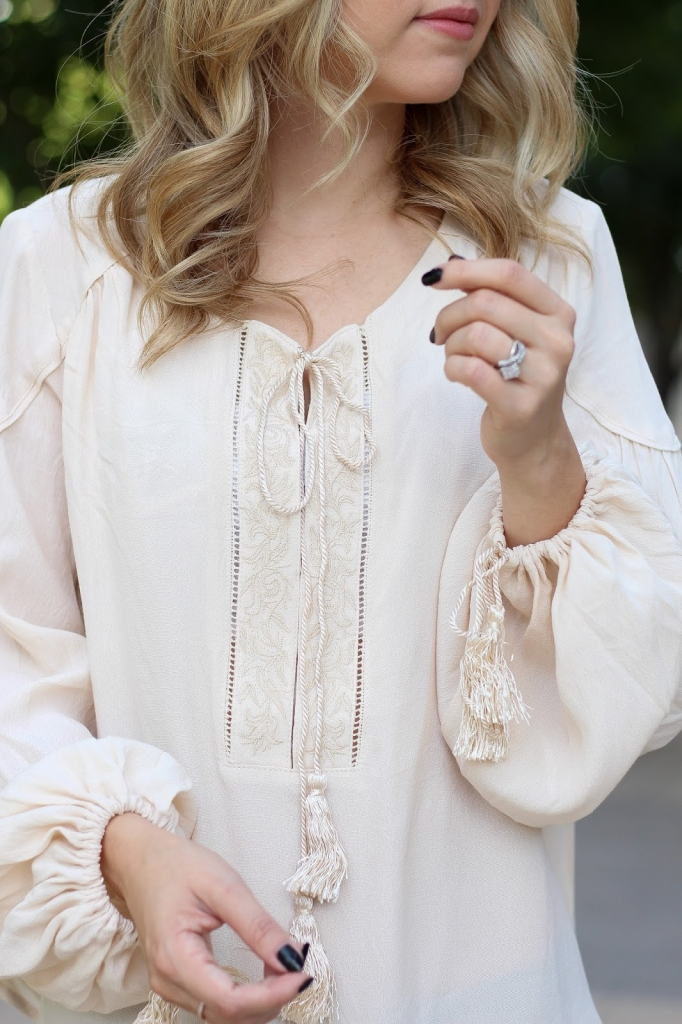 fall fashion - OTK boots - Tasseled ASTR blouse