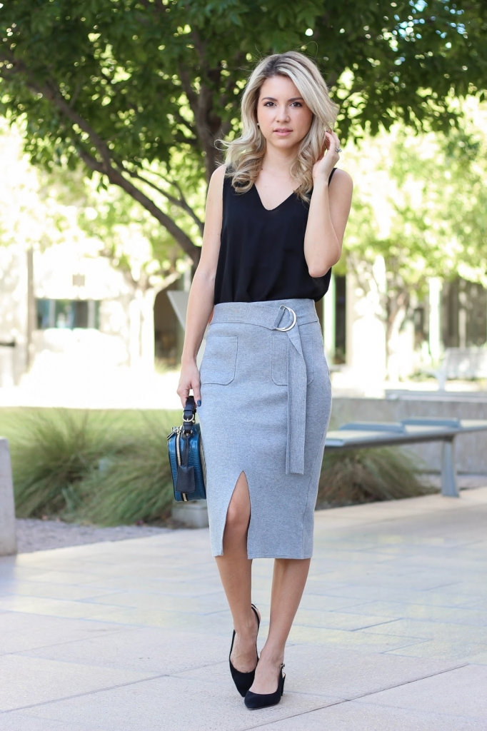 black and grey outfit - transition outfit - lucy paris skirt - fall fashion