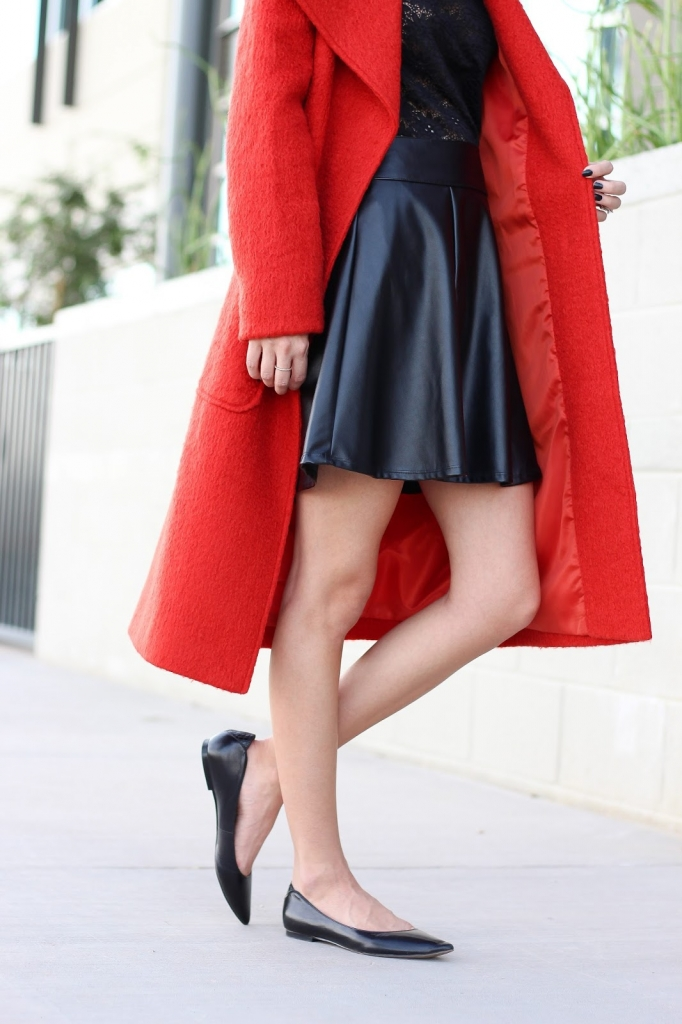 faux leather skirt - lace top - winter outfit