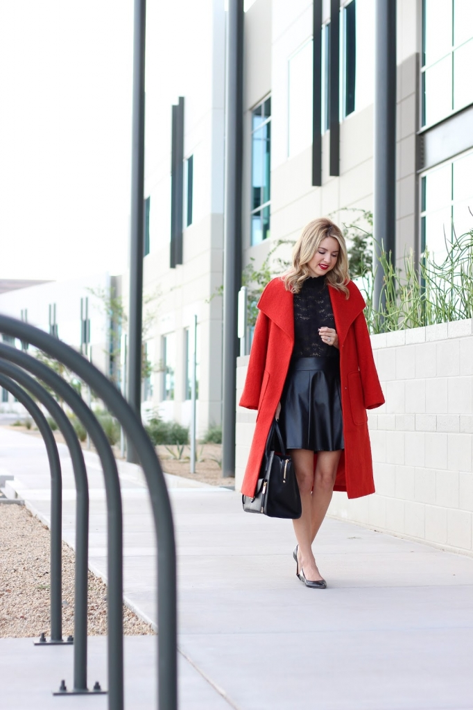 fall layers - coat - faux leather - lace