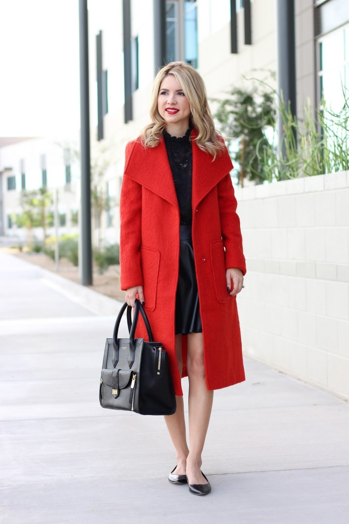 simply sutter - burnt orange textured coat - long coat - fall fashion