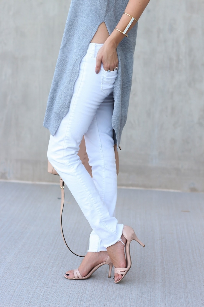 skinny jeans - nude heels - sleeveless