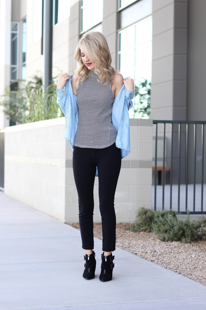 chambray top - stripes and chambray - denim top and black leggings