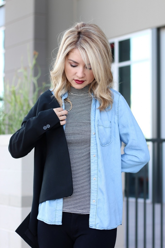 stripe top - chambray top - black blazer - blanket scarf - wide brim hat