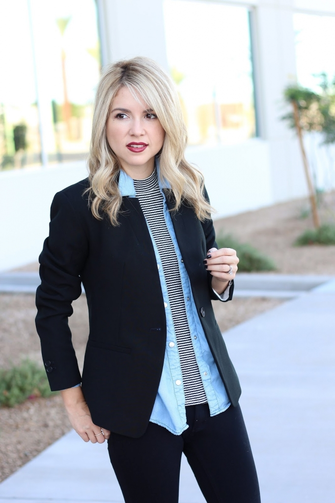 layered blazer outfit - denim - black outfit