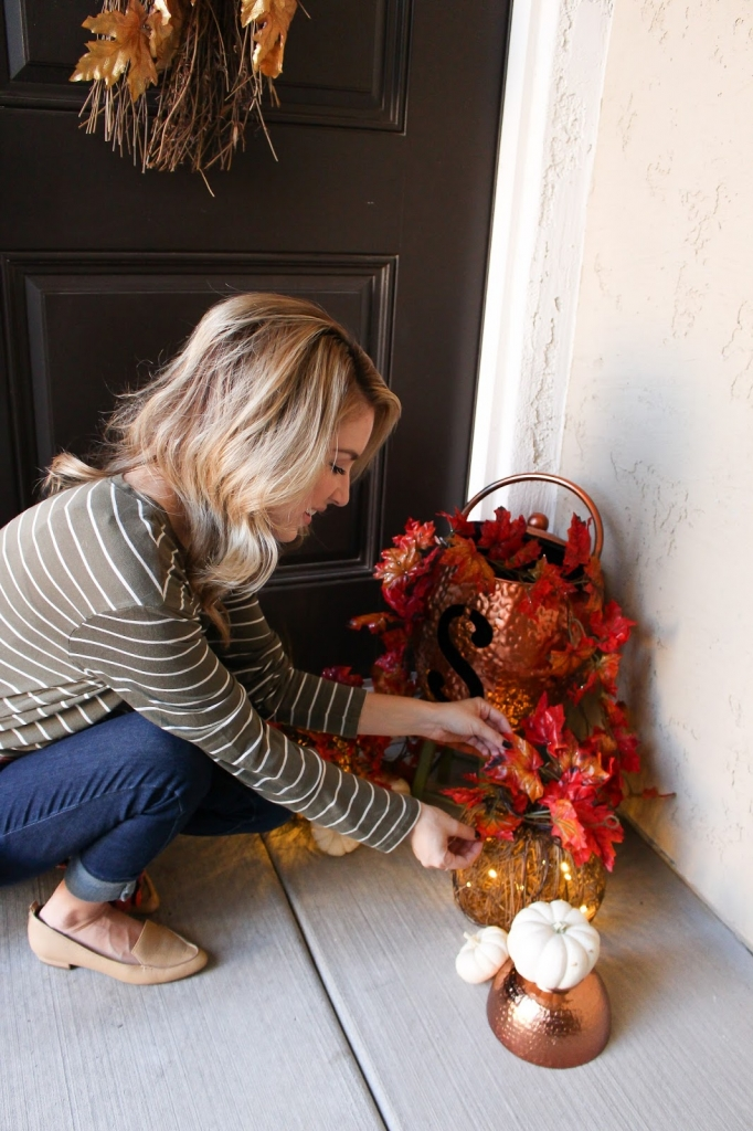 pumpkin decorations - fall leaves - autumn