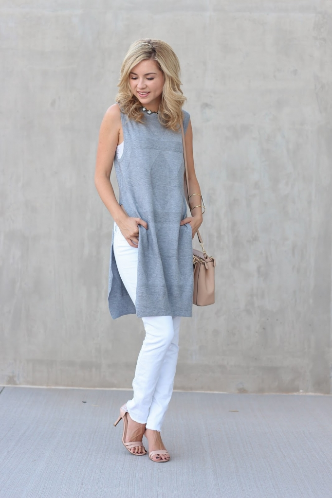 sleeveless sweater - fall outfit - fall trend