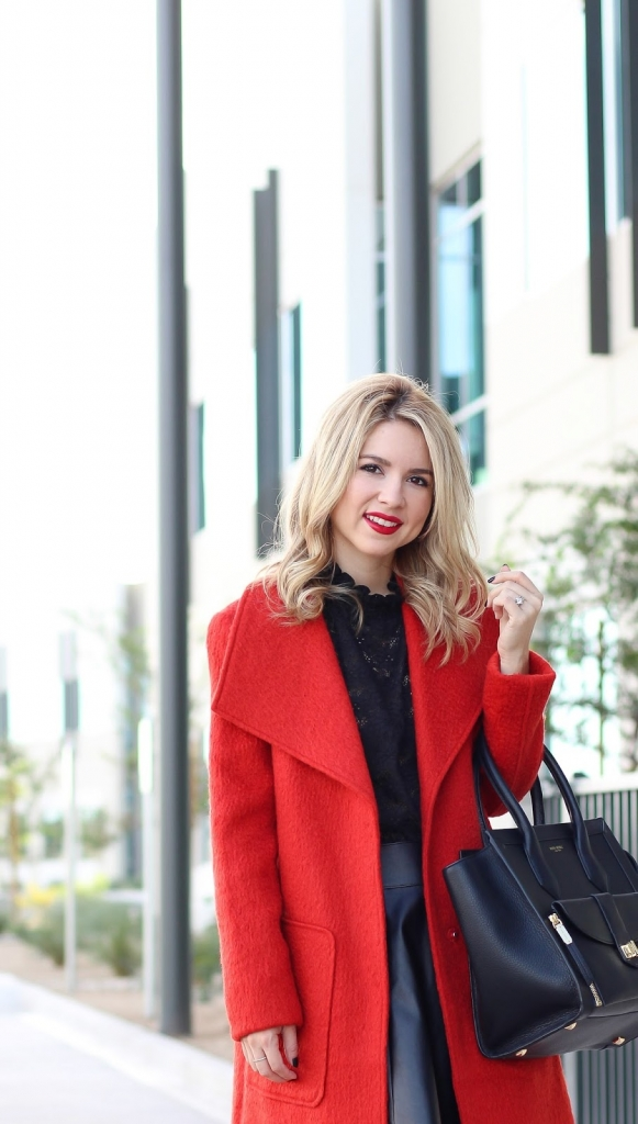 simply sutter - holiday - red coat - blogger outfit - street style