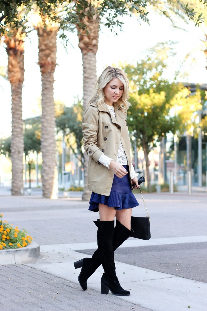 over the knee boots - flounce skirt - trench coat - blue skirt - lace blouse