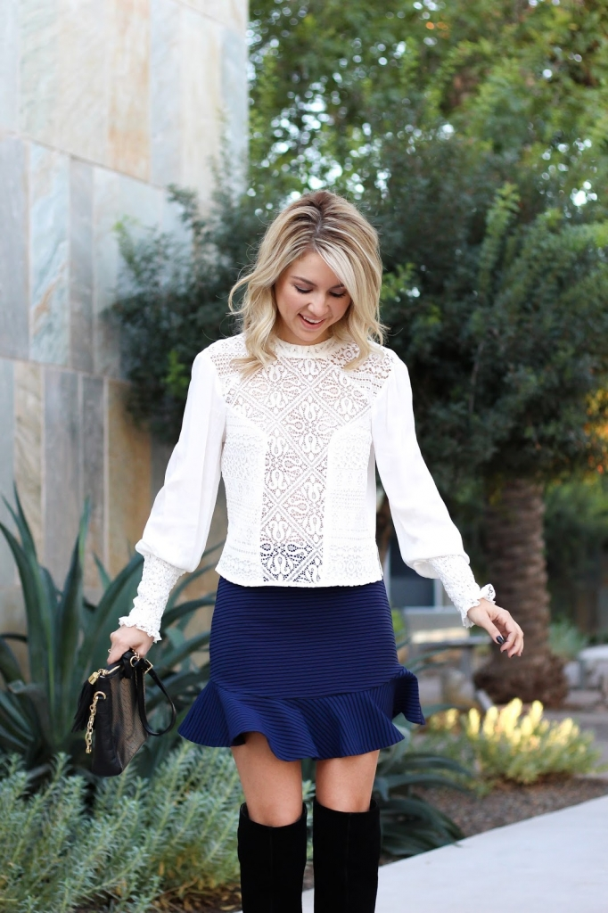 blogger - style blogger - style - over the knee boots - outfit - skirt
