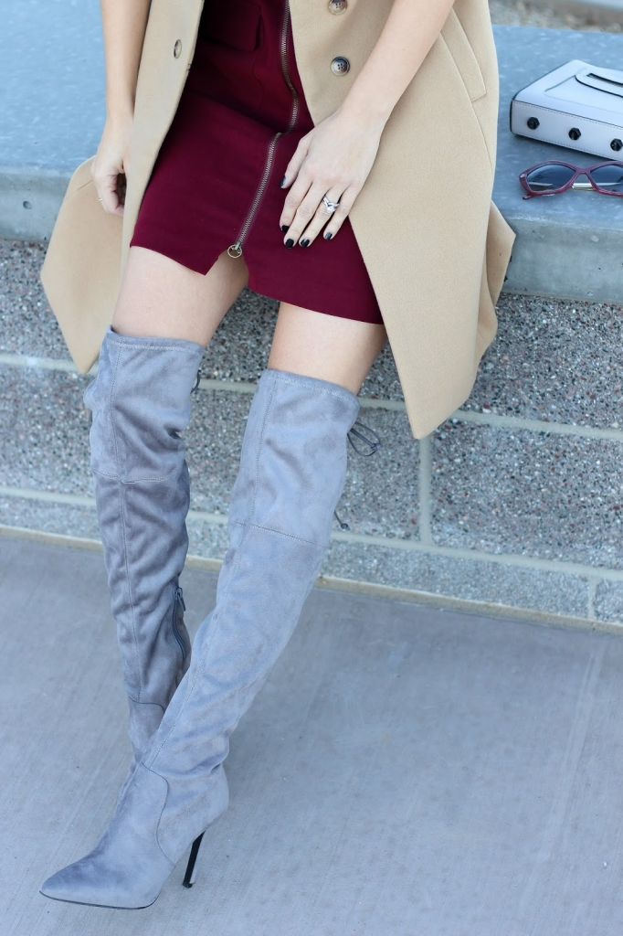 over the knee boots - grey boots - boots on sale - over the knee boot outfit - maroon outfit - sleeveless coat