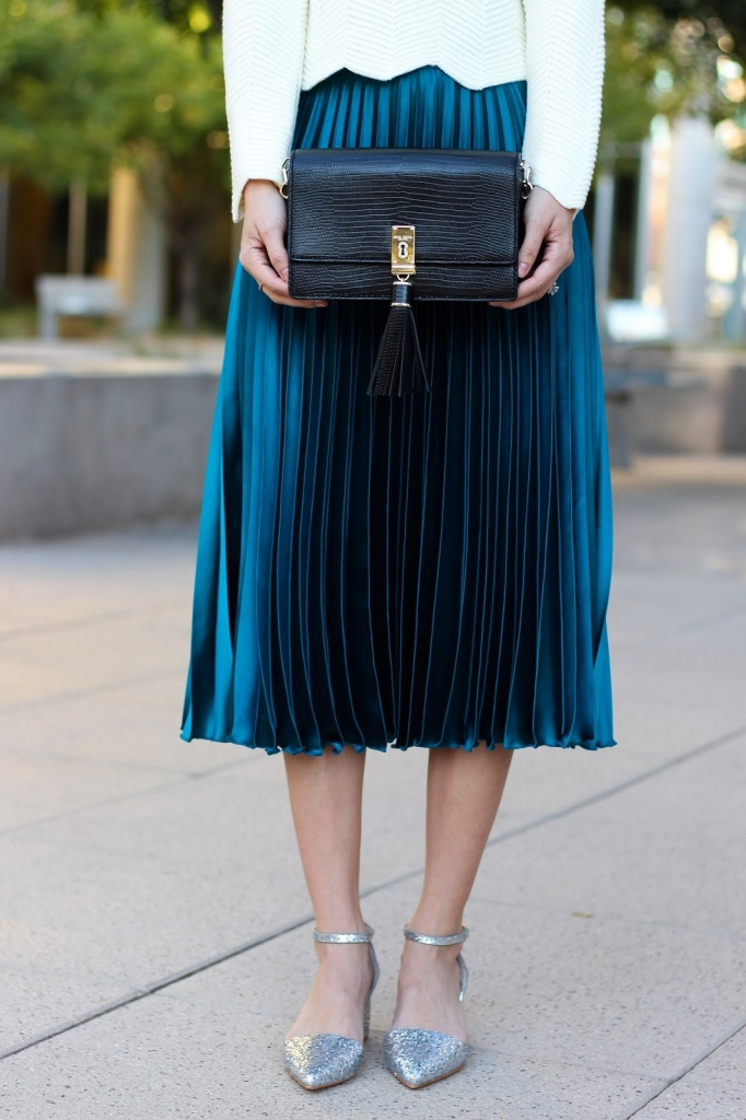 henri bendel - black clutch - party bag - teal skirt - holiday wear - sweater and skirt