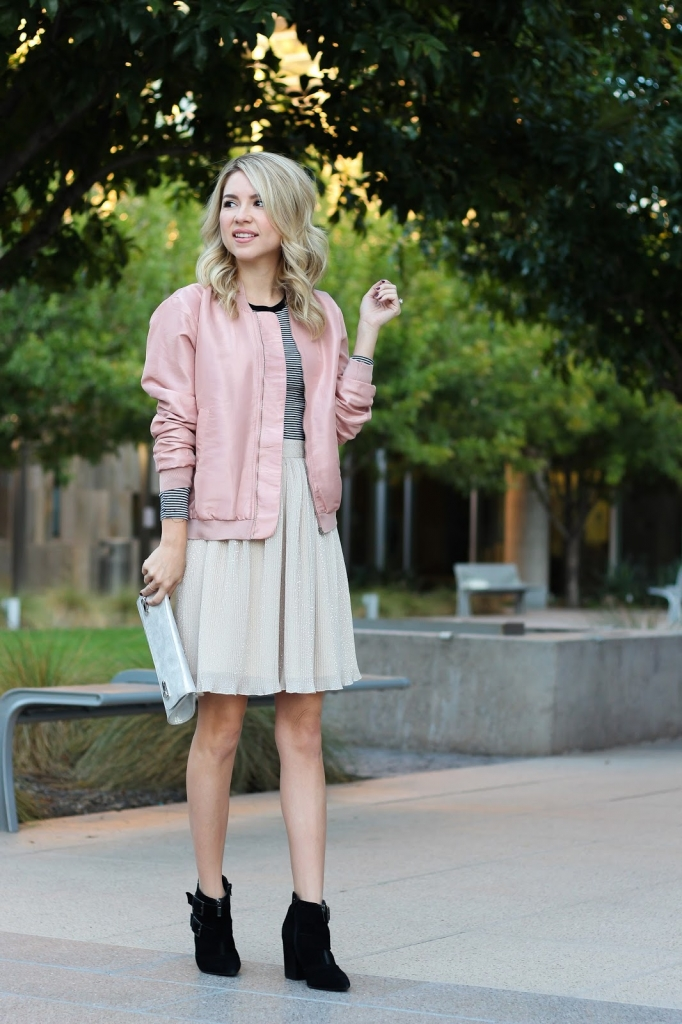 pink bomber jacket - pink jacket - how to wear a bomber jacket - pleated skirt - trixxi clothing - pink and stripes
