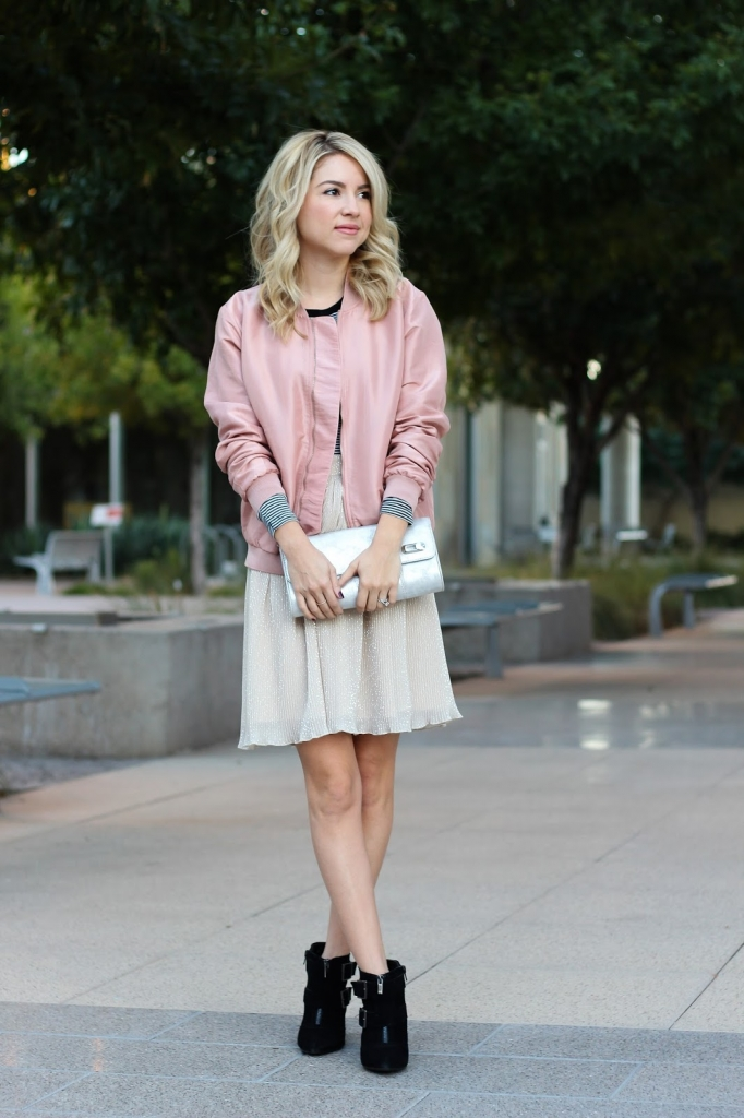 pink jacket - ankle boots - metallic clutch - shimmer skirt - stripe top - style - street style