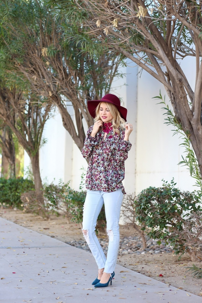 fashion - floral blouse - burgundy hat and floral blouse - chelsea and violet