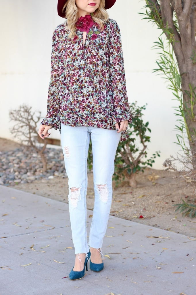 holiday style - distressed denim - burgundy outfit - dressy blouse from dullards - how to style