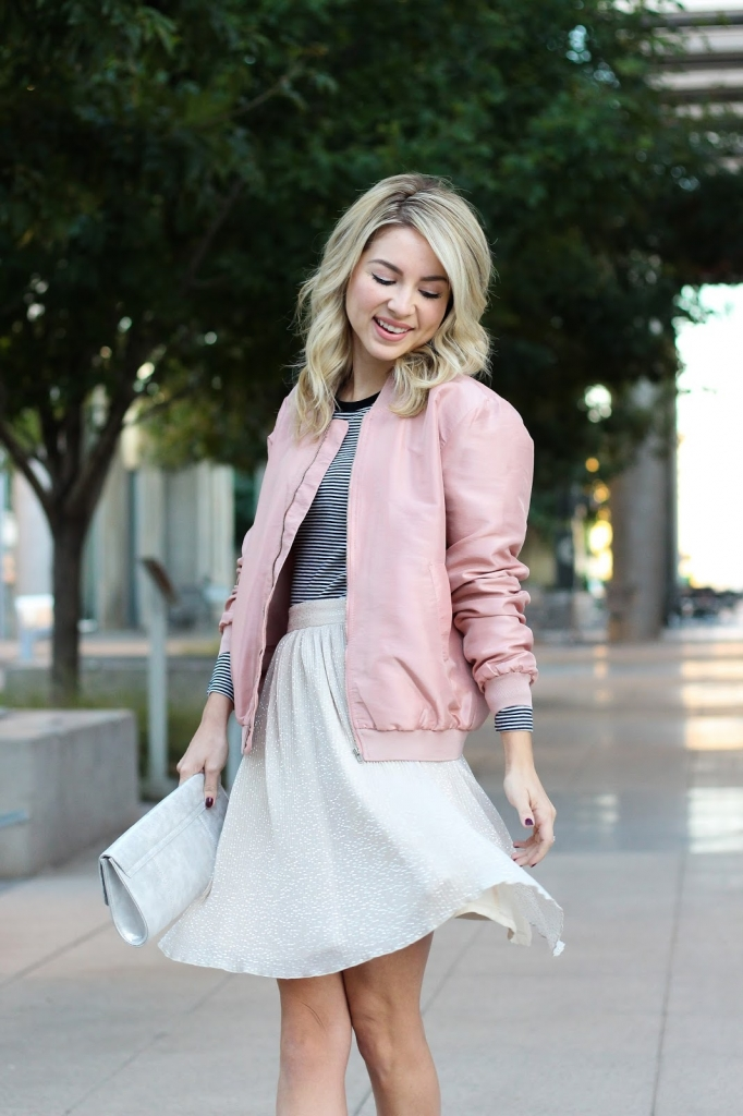street style - style - pink jacket - bomber jacket - trend - pleated skirt - simply sutter - ootd - skirt outfit