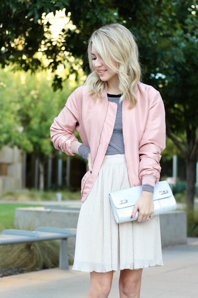 bomber jacket - stripe shirt - pleasted skirt - pink bomber jacket - jacket