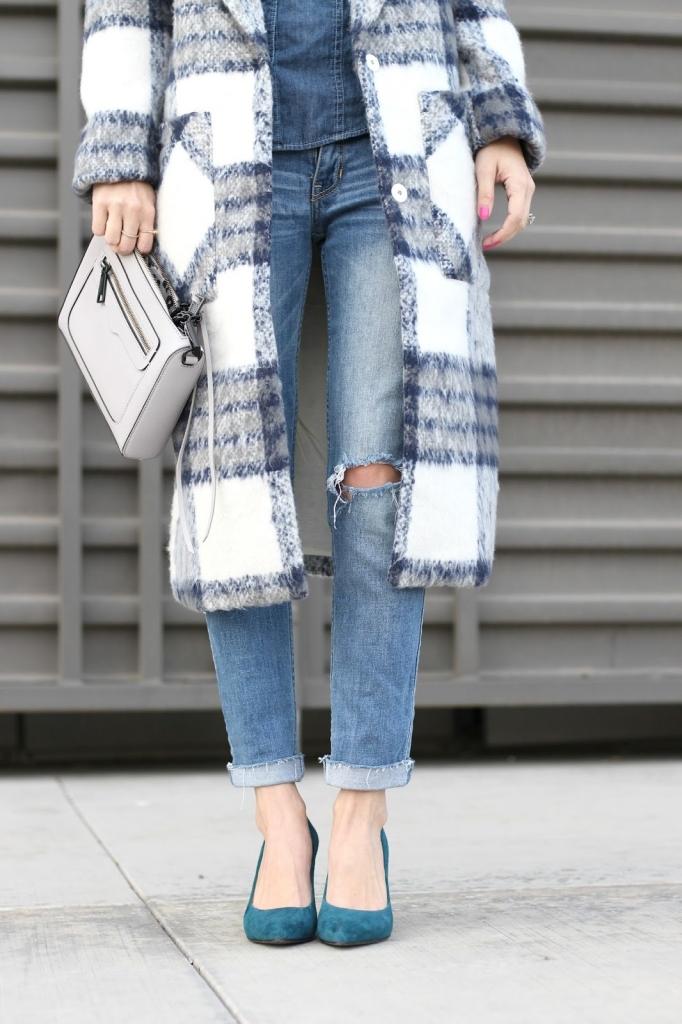plaid coat - long coat - forever 21 coat - shopbop sale - denim - winter outfit - outerwear