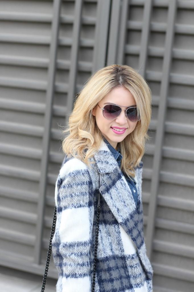 plaid coat - denim with coat - forever21 - plaid - long coat - style