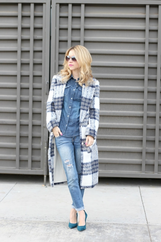 winter style - plaid coat - long coat - denim on denim - checker coat - sale - blogger