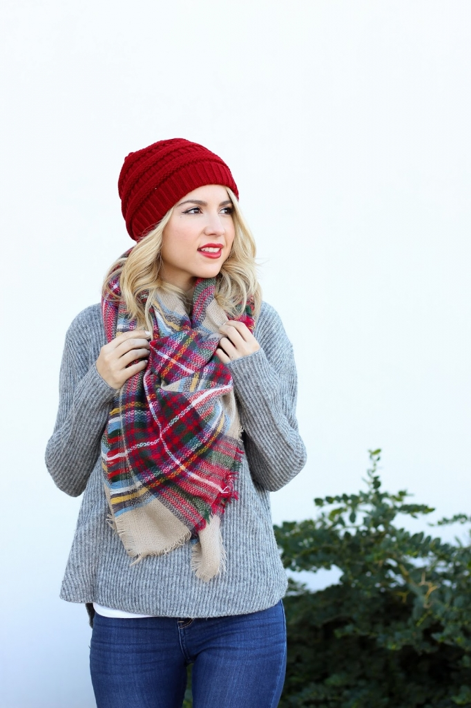 oversized scarf - plaid scarf - winter style
