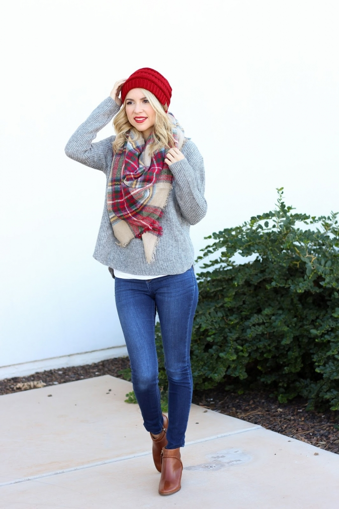 sweater and scarf - ankle boots outfit - beanie - style - simply sutter