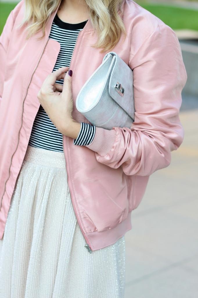 how to style - gap stripe top - pleated shimmer skirt - shimmer skirt - h&m skirt - bomber jacket - simply sutter