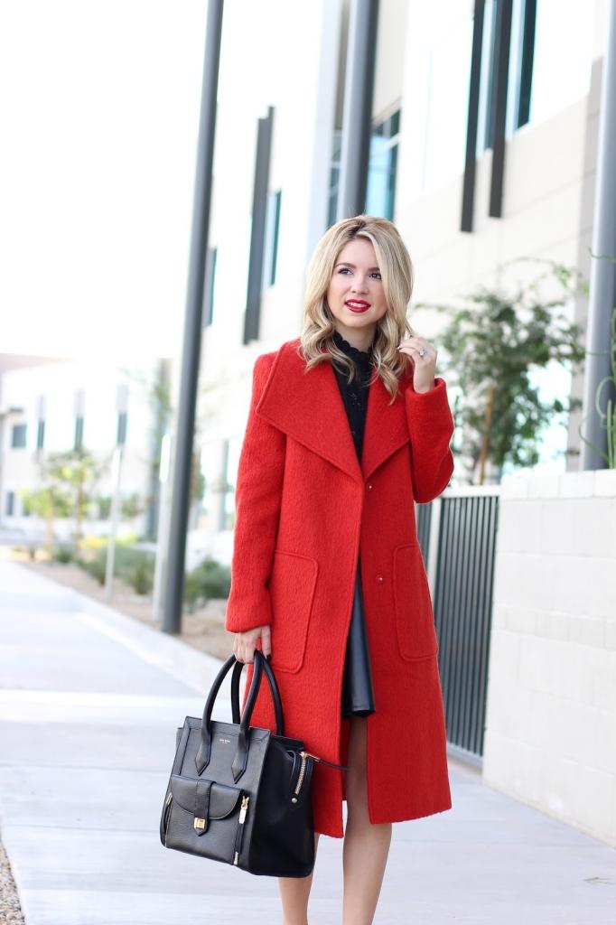 red coat - bernardo fashion - long coat - outerwear - nordstrom