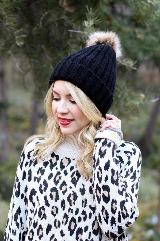 beanie fashion - leopard look - winter - style