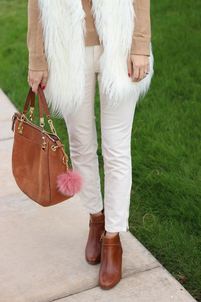 loft pants - jack rogers boots - cashmere sweater - red lips - pom keychain