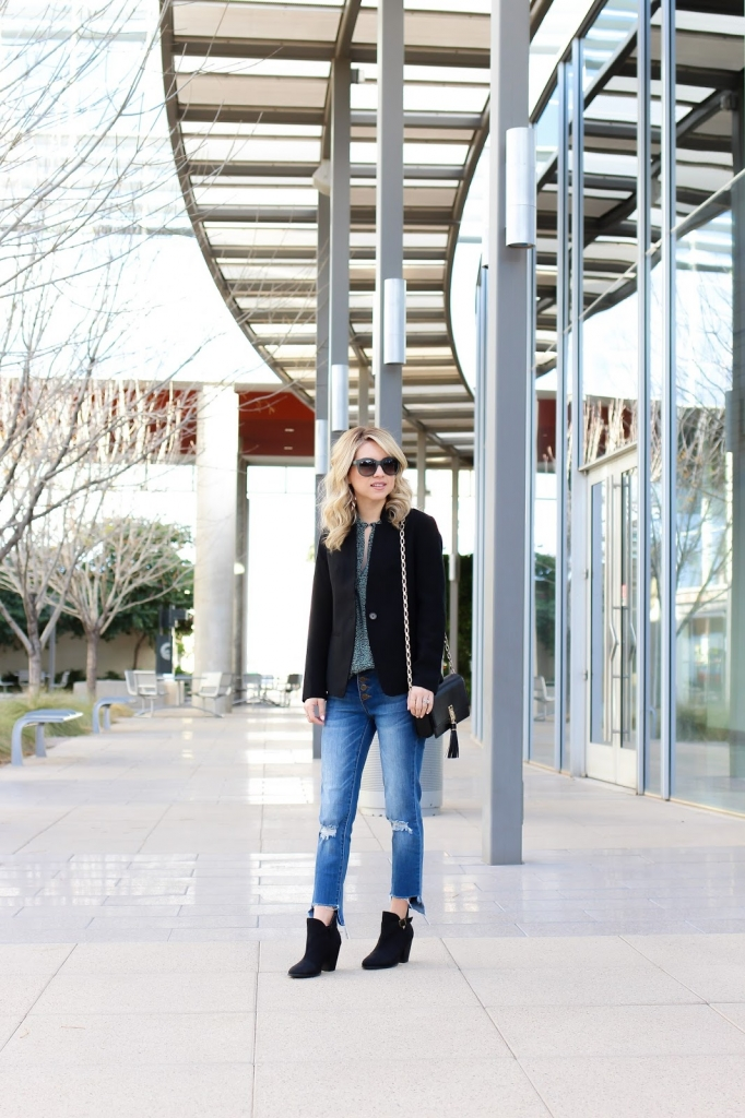 boots - blazer - blouse - sunglasses - winter