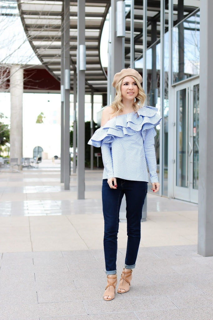 ruffle blouse - chicwish - denim - beret - fashion blogger
