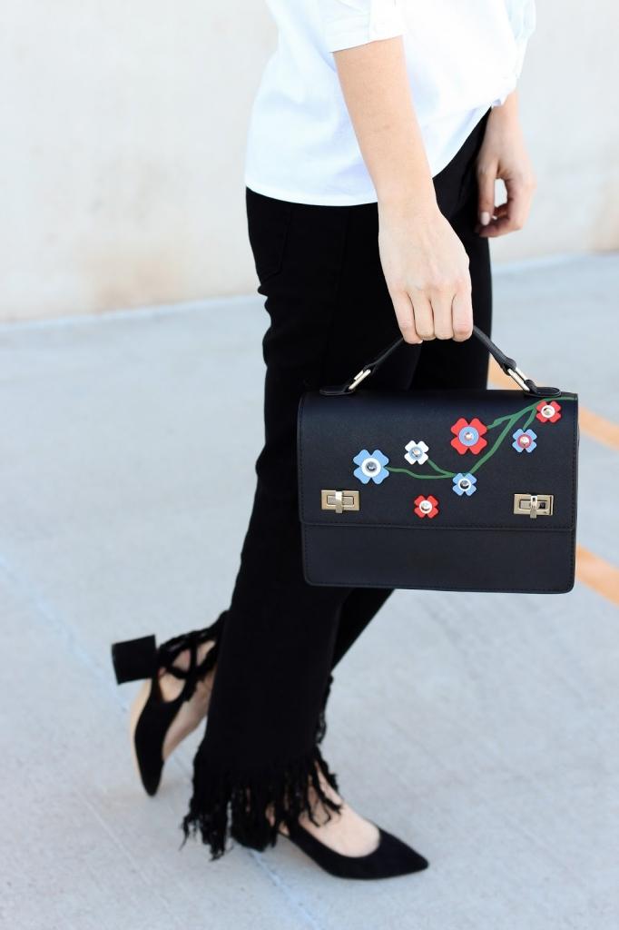 floral handbag - floral - henri bendel - fringe jeans