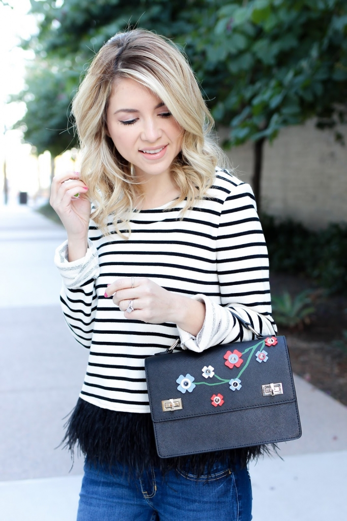 stripe top - feather hem - denim - leopard heels - floral handbag